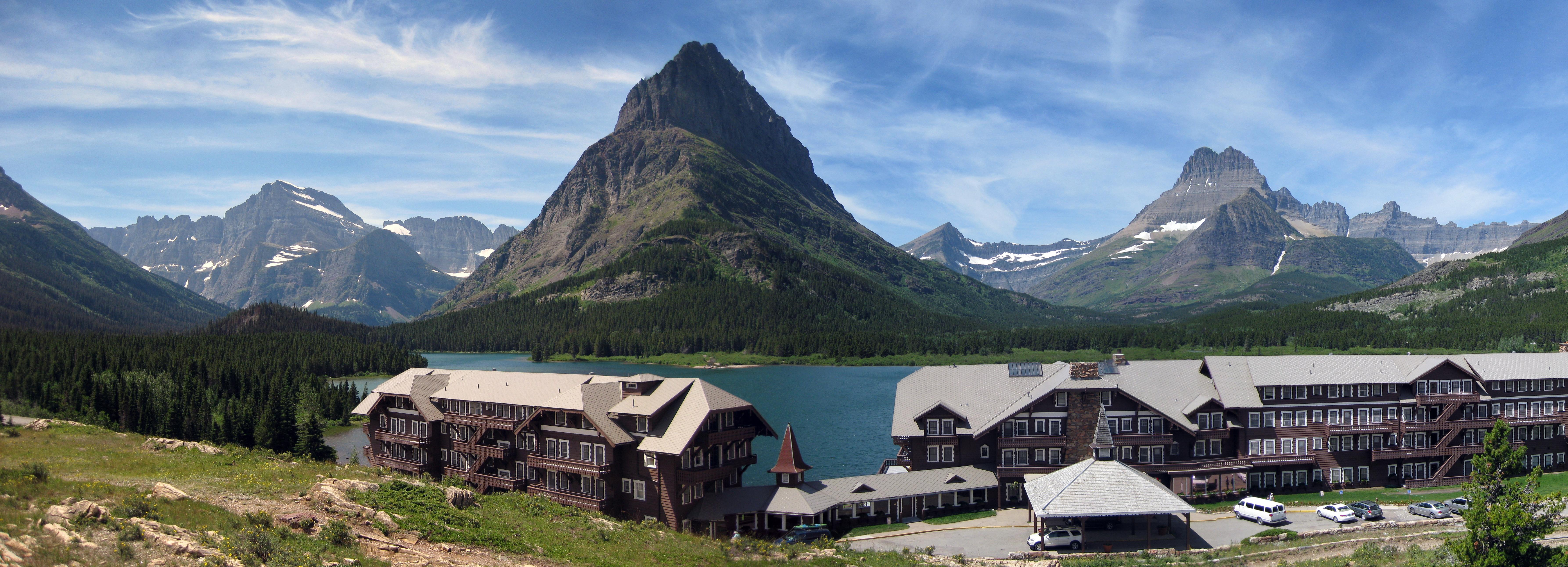 Many Glacier Lodge outside pano